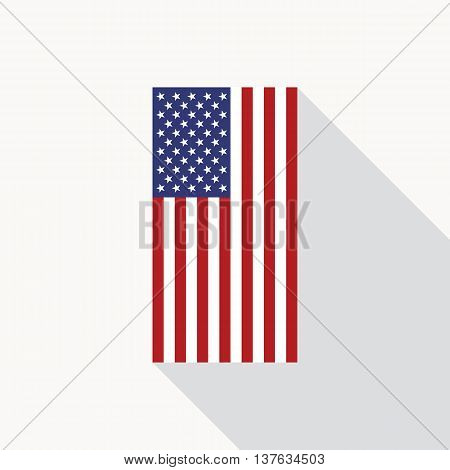 USA national flag vector flat icon. Vector icon of American flag in flat style with long shadow. Flat icon with star-spangled banner. Vector illustration in EPS8 format.
