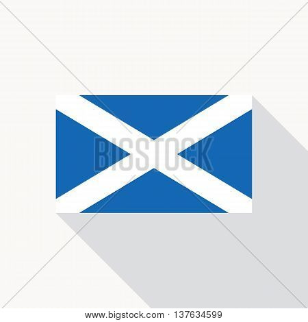 Scotland national flag. Scottish flag icon in flat style with long shadow. Flat icon with flag of Scotland. Vector illustration in EPS8 format.