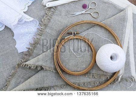 Set For Embroidery, Garment Needle, Thread, Scissors And Embroidery Hoop