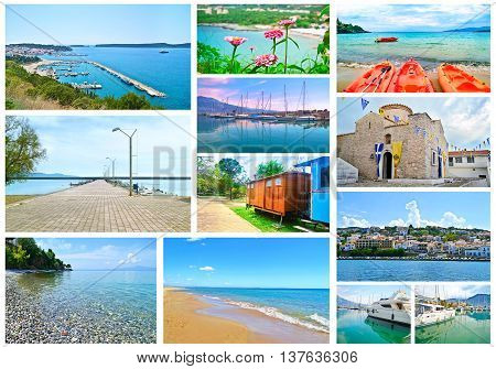 collage of Peloponnese Greece - Pylos, Kalamata, Stoupa, Dimiova church