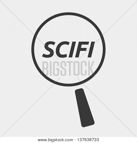 Isolated Magnifying Glass Icon Focusing    The Text Scifi