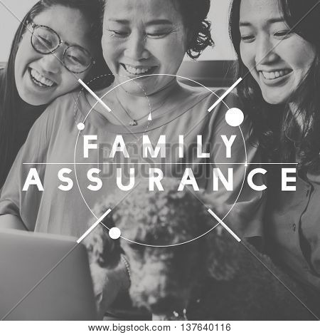 Happy Family Assurance People Graphic Concept poster