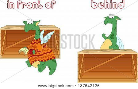 Cartoon Dragon Reads A Book In Front Of The Box And Stands Behind The Box. English Grammar In Pictur