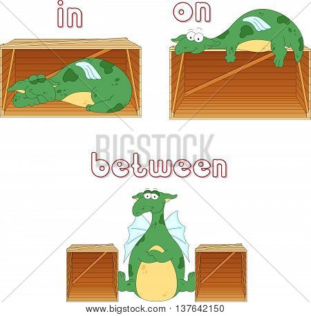 Cartoon Dragon Sleeps In A Box, Lies On A Box And Stands Between Two Boxes. English Grammar In Pictu
