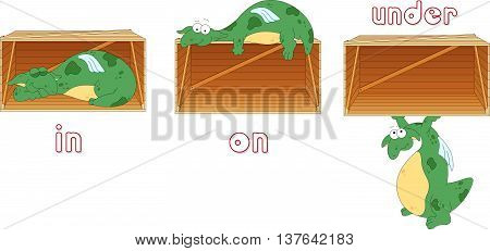 Cartoon Dragon Sleeps In A Box, Lies On A Box And Stands Under A Box. English Grammar In Pictures