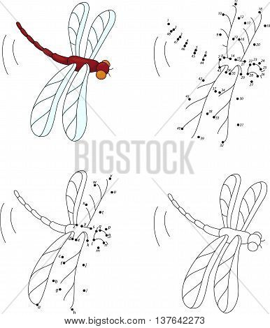 Cartoon Red Dragonfly. Coloring Book And Dot To Dot Game For Kids