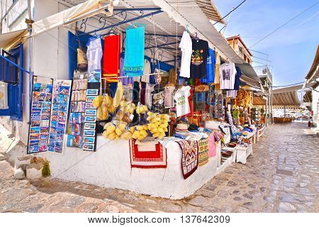 HYDRA ISLAND GREECE, MAY 27 2016: touristic shops with souvenirs at Hydra island Saronic Gulf Greece. Editorial use.