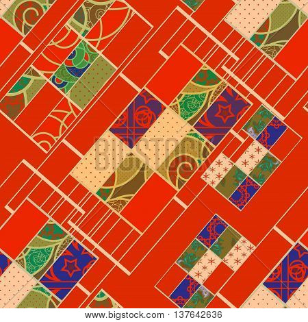 Geometric abstract elements seamless pattern red retro colors print background