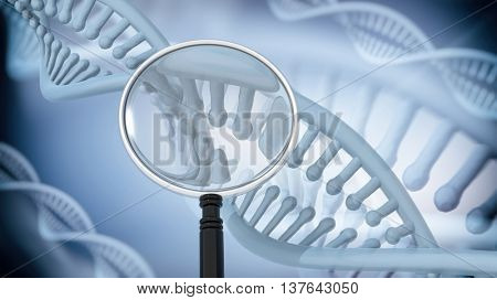 DNA Double Helix with magnifying glass. 3D rendering