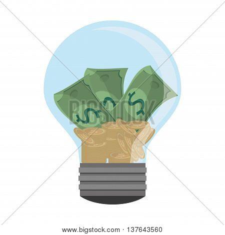lightbulb light bulb money bills , isolated vector illustration