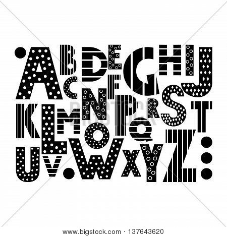 Black and white cartoon alphabet on white background. Cute abc design for book cover, poster, card, print on baby's clothes, pillow etc. Decorative letters composition.