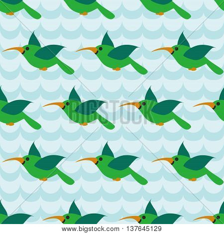 Seamless pattern with colibri on striped wave blue background. Art vector illustration.