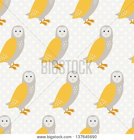 Seamless pattern with cute cartoon owls on grey dotted background. Art vector illustration.