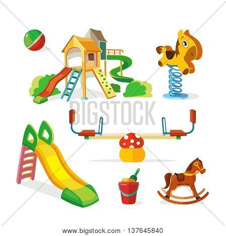 vector icon set of children playground. Illustrations in flat style isolate on white background.Childhood parenting collection.
