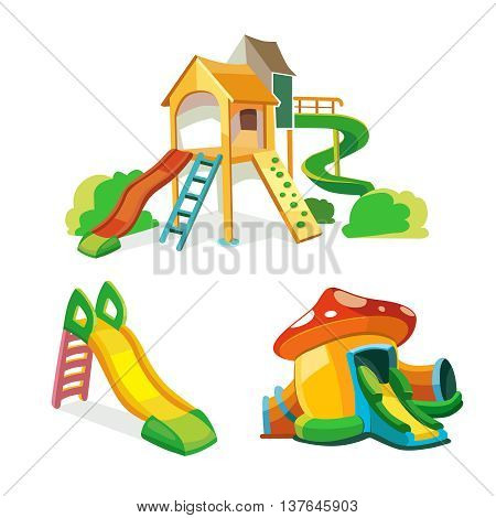 vector icon set of children playground. Illustrations in flat style isolate on white background.