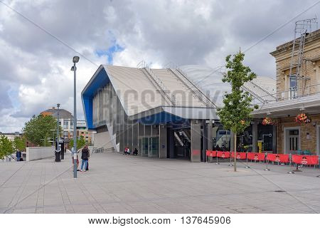 Reading/UK. 3rd July 2016. The newly refurbished southern entrance to Reading station on the Great Western mainline.