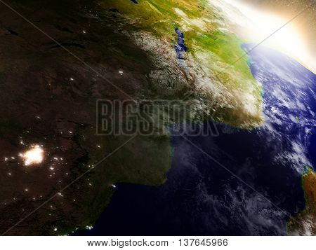 Mozambique And Zimbabwe From Space During Sunrise