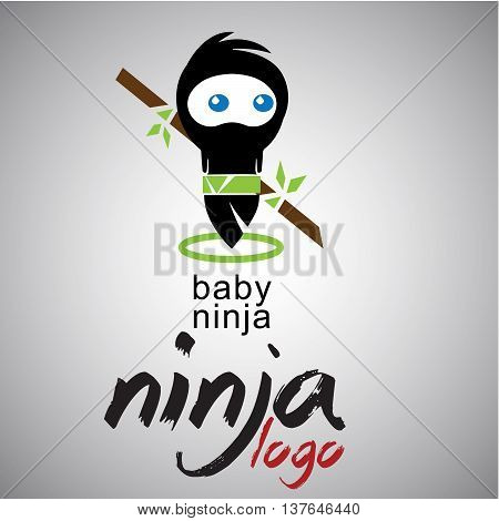 baby ninja logo concepts designed in a simple way so it can be use for multiple proposes like logo ,marks ,symbols or icons.