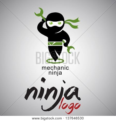 mechanic ninja logo concepts designed in a simple way so it can be use for multiple proposes like logo ,marks ,symbols or icons.