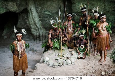 Headhunters. People Of Yafi Tribe.