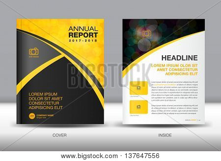 Yellow and black Annual report template cover design brochure flyer booklet portfolio Leaflet presentation book catalogs newsletter butterfly magazine ads poster