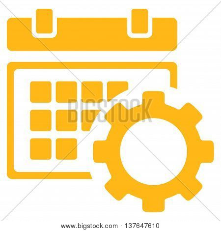 Schedule Preferences vector icon. Style is flat symbol, yellow color, rounded angles, white background.