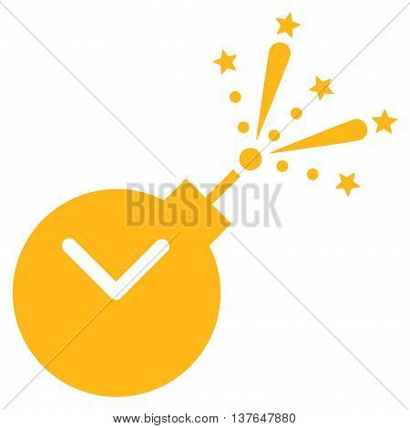 Time Fireworks Charge vector icon. Style is flat symbol, yellow color, rounded angles, white background.
