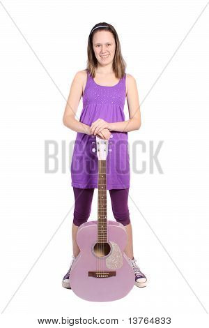Girl With Purple Accoustic Guitar