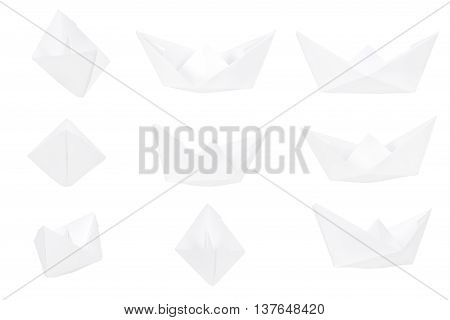 Different views of a paper boat isolated on white background. Paper fold boats for your creative project.