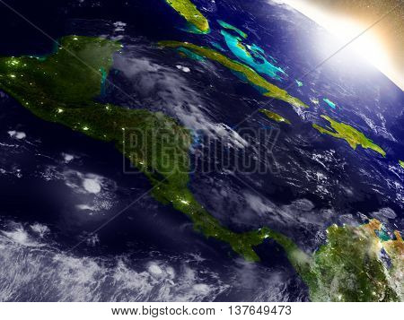 Central America From Space During Sunrise
