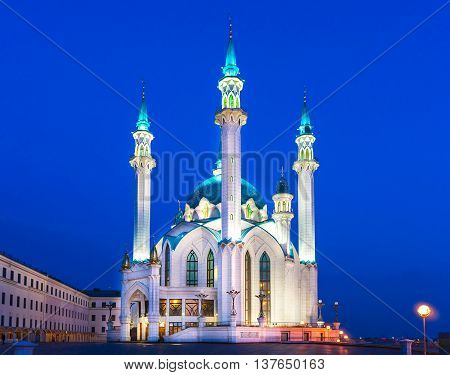 The Kul Sharif mosque in Kazan Russia at sunset