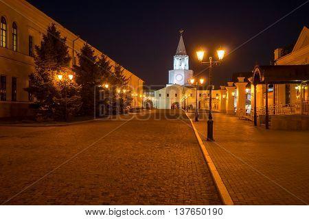In Kazan Kremlin at night. Kazan Kremlin, a medieval fortress in Russia