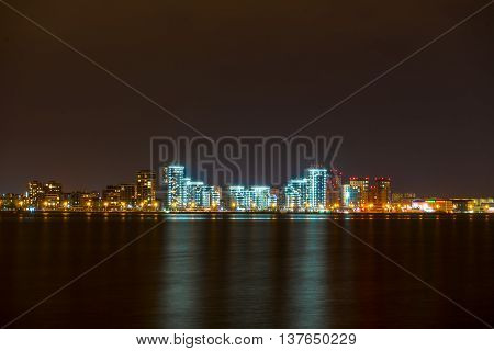 Kazan city skyline at night. View from the embankment of the Kazanka poster