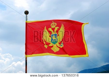 Flag of Montenegro Waving on the Wind