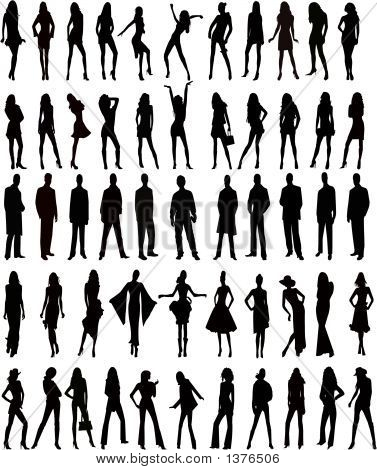 Hundreds Of People Silhouettes - Vector