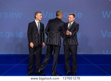 Barack Obama, Jens Stoltenberg And Andrzej Duda At Nato Summit