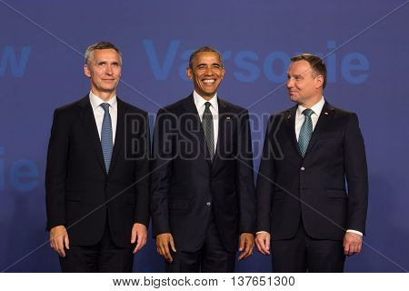 Barack Obama, Jens Stoltenberg And Andrzej Duda At Nato Summit