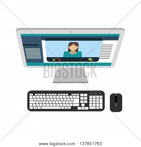 Computer desktop pc with keyboard and mouse isolated vector illustration