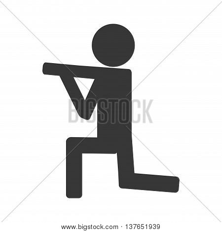 man shooting icon on knees isolated vector illustration