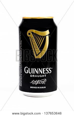 Trieste Italy July 08 2016 : Guinness stout aluminum can on the white background. Irish dry stout originated in the brewery of Arthur Guinness Dublin. One of the most successful beer brands worldwide.