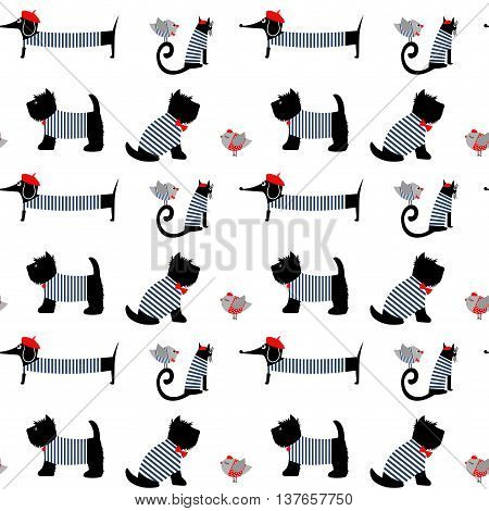 French style dressed animals seamless pattern. Cute cartoon parisian dachshund, cat, birds and scottish terrier vector illustration. Cute design for print on baby's clothes, textile, decor.