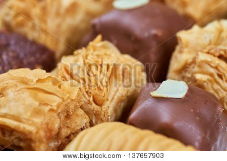 Oriental sweets. Traditional turkish or greek delight
