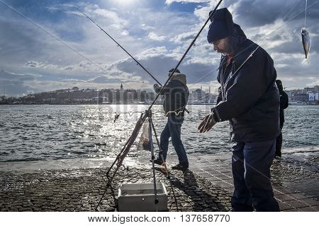 Istanbul Turkey - January 19 2013: Istanbul at the Bosphorus bonito bluefish mackerel sardines sea bass and other bottom fish hunt. Migration time increases in fishing catch fish. seen in the background Seraglio coast and Topkapi palace domes minarets of