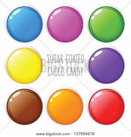 Vector stock of colorful sugar coated chocolate candy on white background