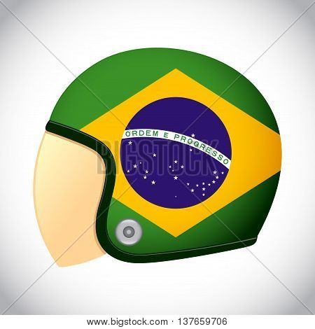 Vector stock of retro classic motorcycle helmet with Brazil flag