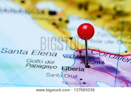 Liberia pinned on a map of Costa Rica