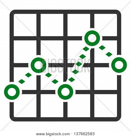 Dotted Line Grid Plot vector toolbar icon. Style is bicolor flat icon symbol, green and gray colors, white background, rhombus dots.