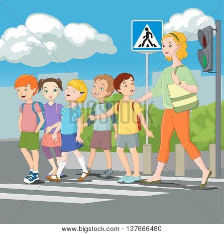 Kids crossing road with teacher. Road Safety for children. Cartoon vector illustration.