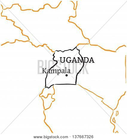 Uganda country with its capital Kampala in Africa hand-drawn sketch map isolated on white