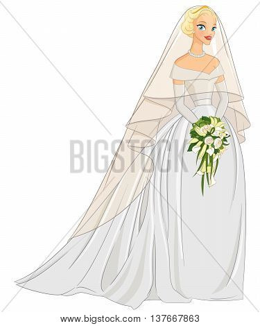 Blonde bride with veil and bouquet. Vector illustration isolated on white background.